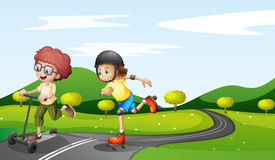 picture of playmate  - Illustration of the kids playing at the road - JPG