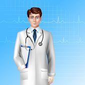 picture of stethoscope  - Young male doctor standing with stethoscope and poster vector illustration - JPG