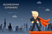 picture of coat tie  - Businessman superhero on a hill in an orange coat against the backdrop of the city at night - JPG