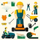 pic of decorative  - Man with lawn mower and garden equipment decorative icons set isolated vector illustration - JPG