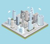 image of isometric  - Isometric urban city center map with buildings - JPG