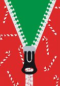 stock photo of zipper  - Green and Red Christmas Candy Cane Zippered Sweater - JPG