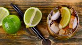 picture of humidity  - Cuba Libre Drink on a wooden table - JPG