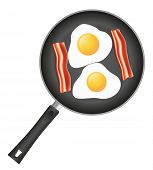 stock photo of bacon  - fried eggs with bacon in a frying pan vector illustration isolated on white background - JPG