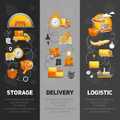 picture of logistics  - Logistics flat vertical banners set with storage and delivery elements isolated vector illustration - JPG