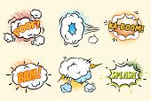foto of bomb  - Comic speech bubbles in pop art style with bomb cartoon explosion splach powl snap boom poof text set vector illustration  modern style - JPG