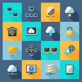 foto of network  - Network hosting data service web connection icons flat set isolated vector illustration - JPG