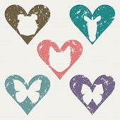 picture of working animal  - animal heads in the heart stamp set for use in design in materials and works aimed at the protection of animals - JPG