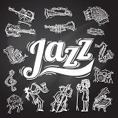 stock photo of drum-set  - Jazz music decorative icons chalkboard set with instruments musicians and vinyl isolated vector illustration - JPG
