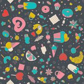 picture of lollipop  - Vector doodle hand drawn seamless pattern with desserts - JPG