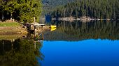 picture of pier a lake  - Mountain lake in Rhodope mountain - JPG