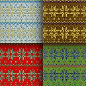 picture of scandinavian  - set of traditional christmas knitted Scandinavian seamless patterns - JPG