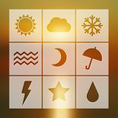 stock photo of cold-weather  - Vector flat weather icon set on blur - JPG