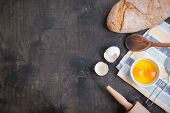 picture of darkness  - Baking dark background with blank cook book eggshell bread flour rolling pin - JPG