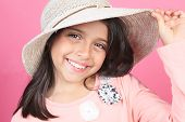 stock photo of planters  - Pink Little girl Hat Planter Touch in front of a pink background - JPG