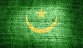 picture of civil war flags  - Grunge of Mauritania flag on burlap fabric - JPG