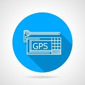 pic of gps navigation  - Flat line vector icon with white contour GPS navigation device on white background - JPG