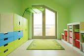 stock photo of attic  - Colorful kids room in the attic horizontal - JPG