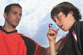 stock photo of 13 year old  - A picture of a boy who have an asthma crisis - JPG