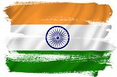 image of indian flag  - Indian flag backdrop background texture isolated on white - JPG