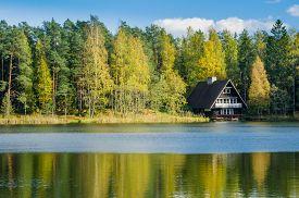 foto of farm landscape  - Autumn landscape on the lake in the woods - JPG