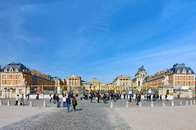 stock photo of versaille  - VERSAILLES FRANCE SEPTEMBER 21 Main entrance of Versailles Palace Versailles France on september 21 2013 - JPG