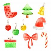foto of christmas bells  - Cute watercolor christmas objects including christmas tree - JPG