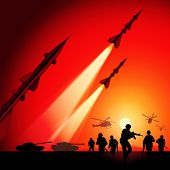 picture of military helicopter  - Antiaircraft missiles rockets aimed to the sky - JPG