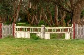 stock photo of neglect  - Old wooden fence and gate showing signs of neglect - JPG