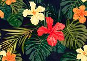 foto of jungle flowers  - Summer colorful hawaiian seamless pattern with tropical plants and hibiscus flowers - JPG