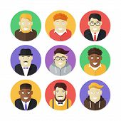 picture of ginger man  - Set of modern flat colorful vector smiling men icons - JPG