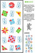 stock photo of fraction  - Educational math puzzle - JPG
