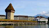 pic of chapels  - wooden Chapel Bridge and Tower in Lucerne Switzerland - JPG