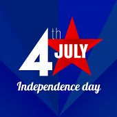 image of four  - Design sign Independence Day on 4 th july in a 4 and a red star with the inscription - JPG