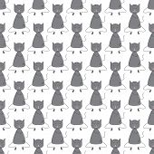picture of paw  - Seamless pattern with repeating cute grey colored cat with dark grey outline sitting with closed eyes and licking its paw with pink tongue - JPG