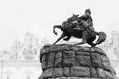 stock photo of hetman  - Bogdan Khmelnitsky monument with black  - JPG
