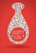 picture of cosmetic products  - doodle hand drawn cosmetic products bottle - JPG