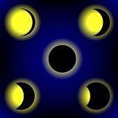 picture of lunar eclipse  - Solar Eclipse Phases on Blue Sky Background - JPG