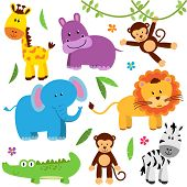 image of zoo  - Cute Vector Set of Zoo or Jungle Animals - JPG