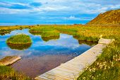 stock photo of ponds  - Lovely pond with thermal water - JPG