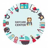 stock photo of daycare  - Daycare center emblem with equipment and icons - JPG