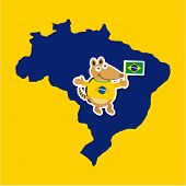 picture of armadillo  - Brazil design over yellow background - JPG