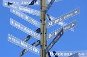 picture of bordeaux  - Los Angeles distance signs to its sister cities - JPG