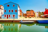 picture of flea  - Venice landmark Burano old market flea square colorful houses Italy Europe - JPG