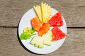 image of papaya fruit  - Delicious breakfast of fresh fruit on a plate  - JPG