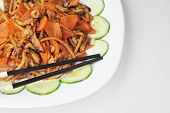 stock photo of chinese parsley  - delicious Chinese food on plate close up - JPG