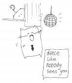 image of peeping tom  - Hand drawn Dancing Cat and Peeping Cat - JPG