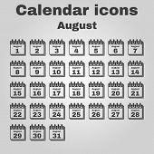 foto of august calendar  - The calendar icon - JPG