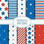 foto of starry  - Set of geometric patriotic seamless pattern with red - JPG