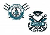 stock photo of anchor  - Retro voyager and seafarer nautical badges or emblems with crossed anchors - JPG